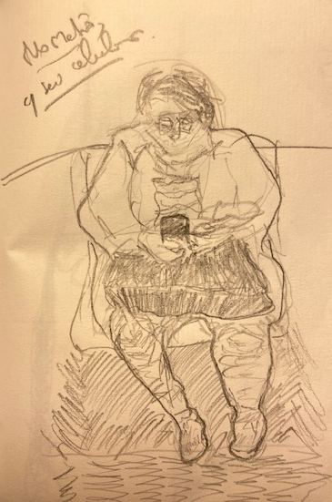 """""""Série No Metrô – 1"""", Justino, lápis em papel, 11,5 x 15,5, 2019."""