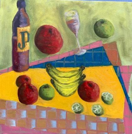 """Natureza Morta Tropical Semicubista"" - óleo em tela, 50x50, 2020."