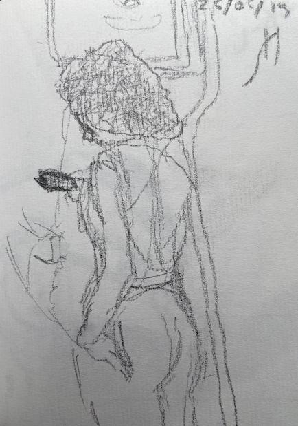 No metrô - 12, Justino, lápis, 2019.