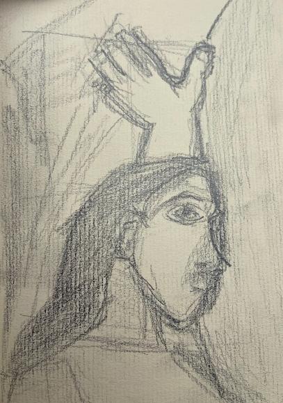 Selfie Alheia -1, Justino, desenho a lápis, 2019.