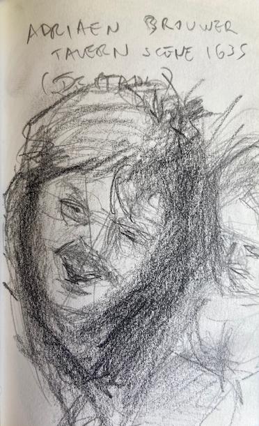 Adriaen Brouwer, National Gallery London, Justino, lápis, 2017.