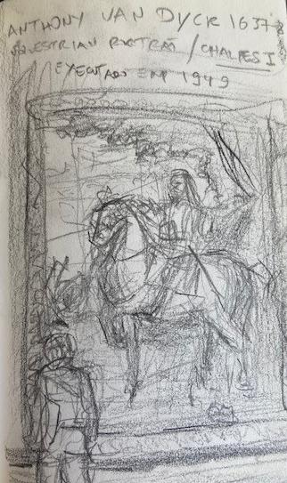 Van Dyck, National Gallery London, Justino, lápis, 2017.
