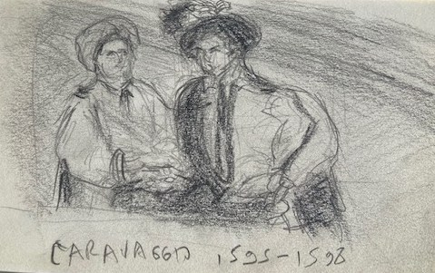 Caravaggio, Louvre, Justino, Lápis, 2017.