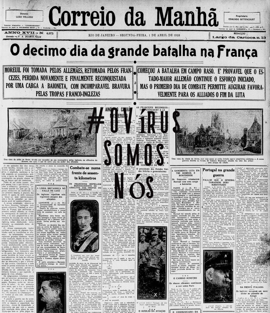 OVírusCorreioDaManhã1918, Justino, 2020.