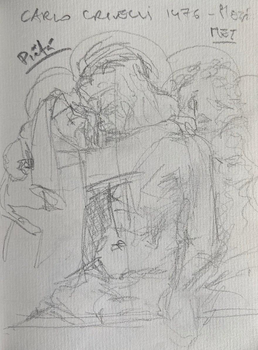 Carlo Crivelli, Pietá, 1476, Justino, Desenho a Lápis, 2020.