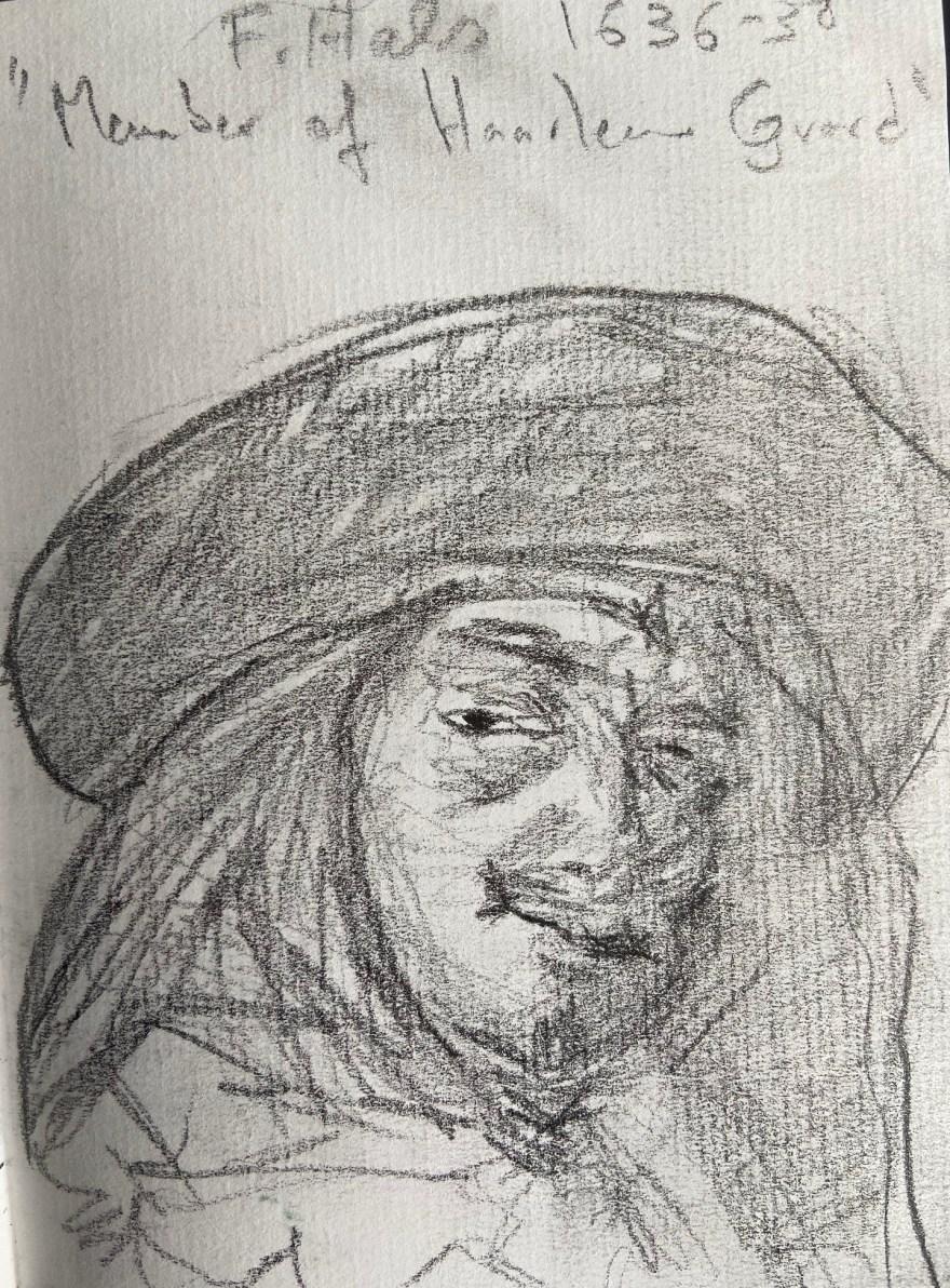 Frans Hals, Membro da Guarda de Haarlem 1636, Justino, Desenho a Lápis, 2020.
