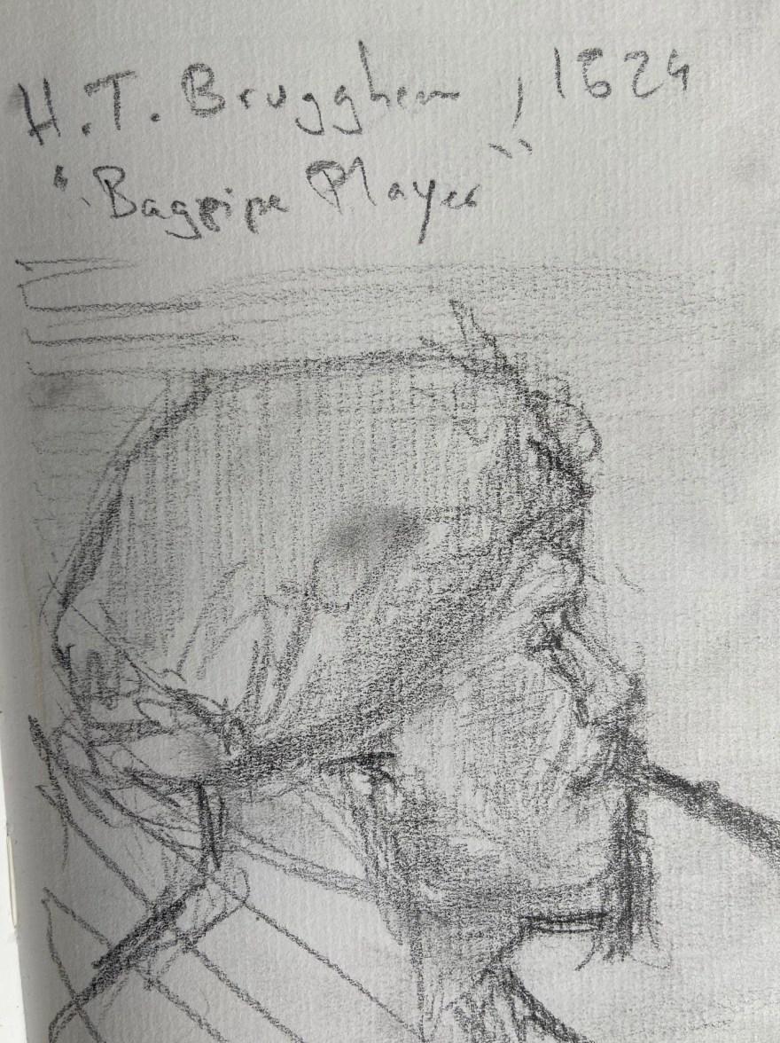 H.T.Brugghen, Tocador de Pipa, 1621, Justino, Desenho a lápis, 2019.