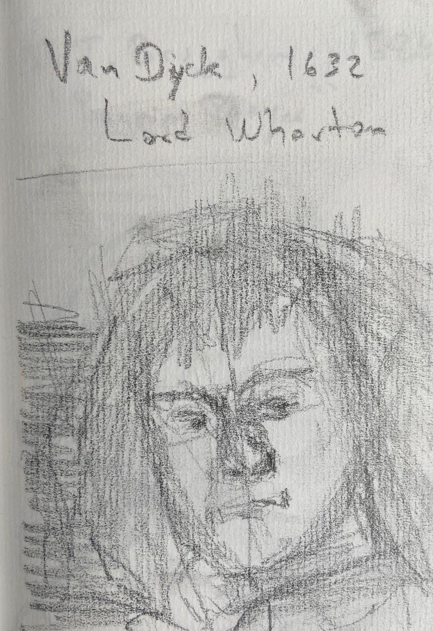 Van Dyck, Lord Wharton, 1632, Justino, desenho a lápis, 2019.