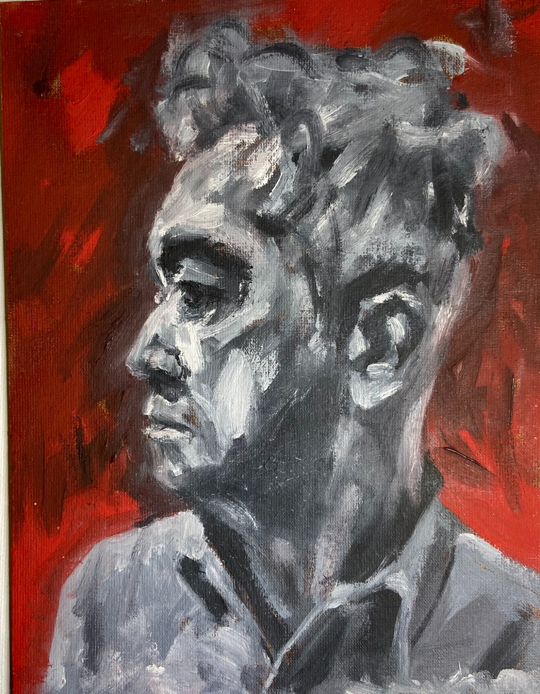 """Autorretrato nº 17"", Justino, óleo em canvas board, 2020."