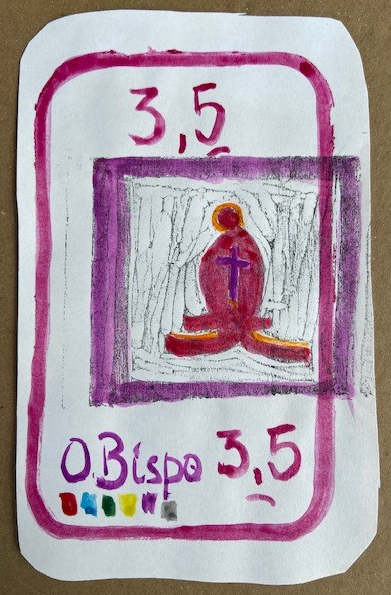 """O Bispo"", Justino, xilogravura e guache em papel, 2020."