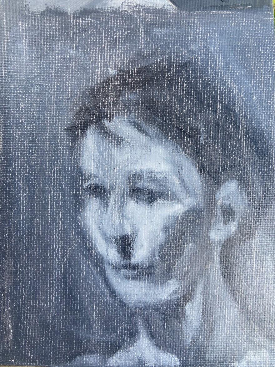 Retrato Contemporâneo, Justino, óleo em canvas board, 2021.