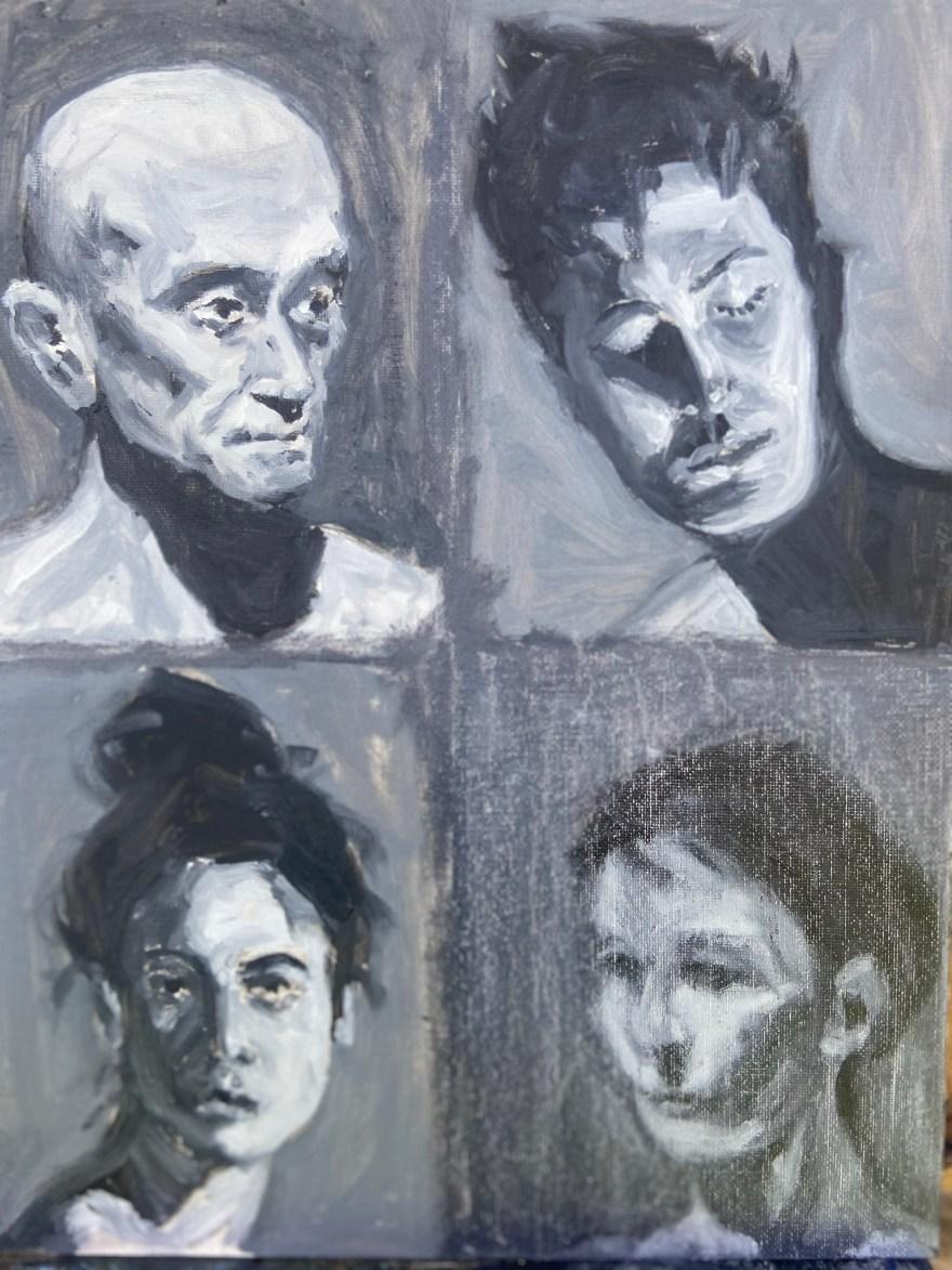 Retrato Contemporâneo - 12, Justino, óleo em canvas board, 2021.