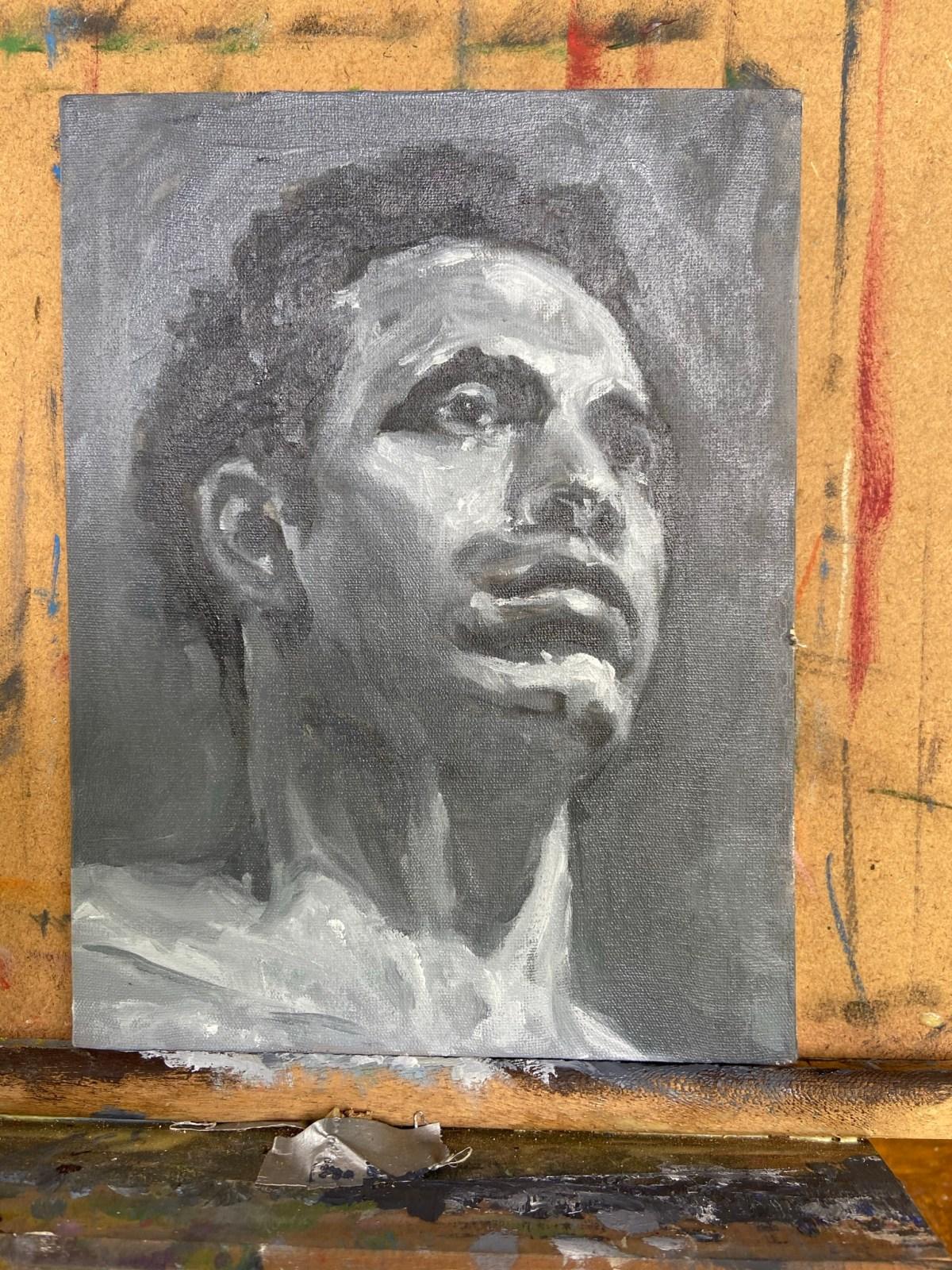 """Retratos conttemporâneos - 12"", Justino, óleo em canvas board, 2021."