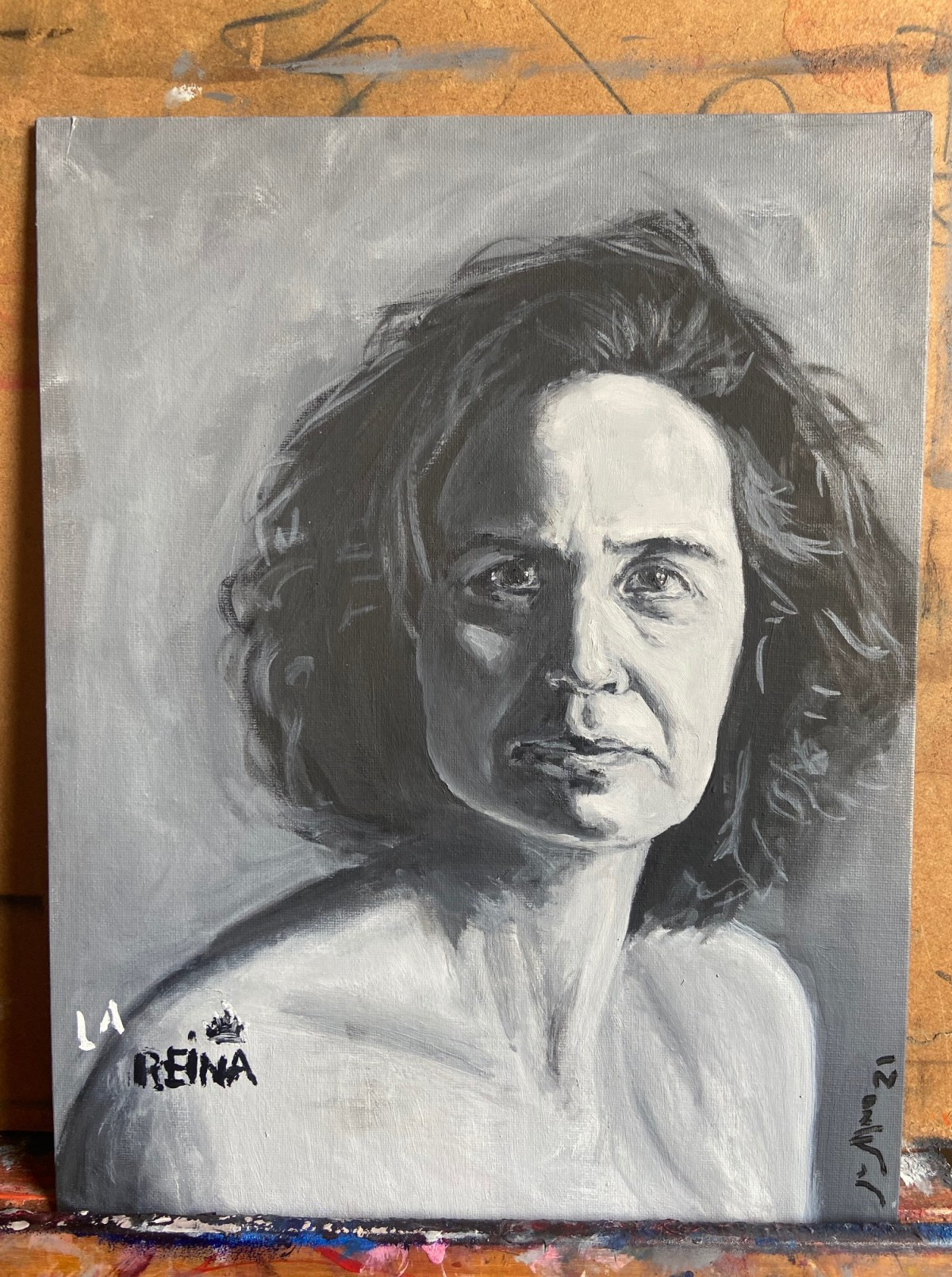 """La Reina"", Justino, óleo em canvas board, 35 cm x 28 cm, 2021."