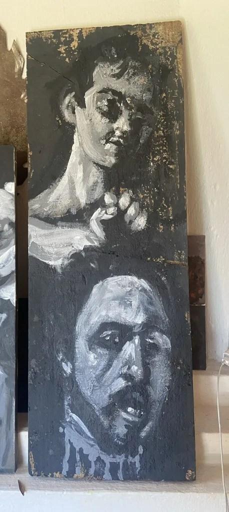 """""""Davi e Golias, après Caravaggio"""", Justino, Acrílica em tábua, 60 cm x 25 cm, 2021, Justino, pastel em tela,, 60  cm x 40 cm, 2021."""