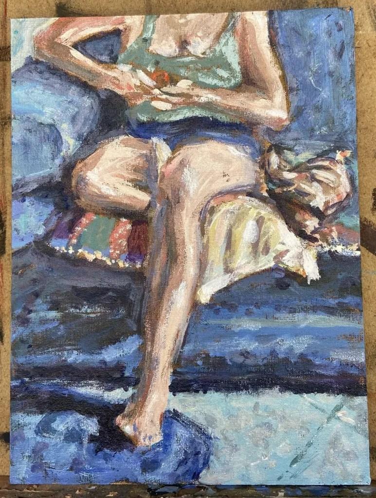 """""""Domingo = Preguiça"""", Justino, acrílica em canvas board, 24 x 18 cm, 2021.,"""