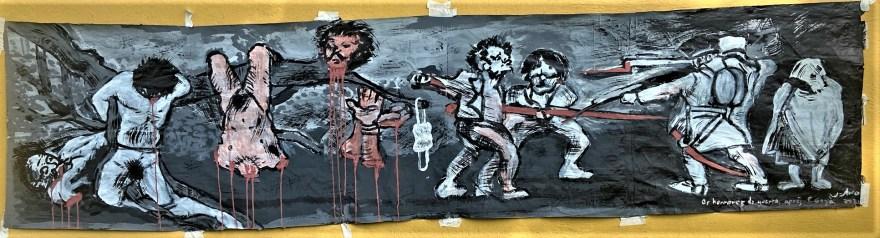 """""""Os Horrores da Guerra d'après F. Goya"""", Justino. Acrílica e gesso sobre papel  60 X 250 cm, ,2021."""