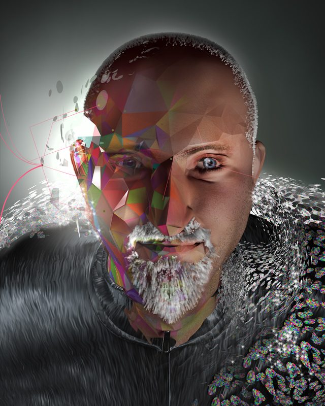 futuristic image of musician peter gabriel
