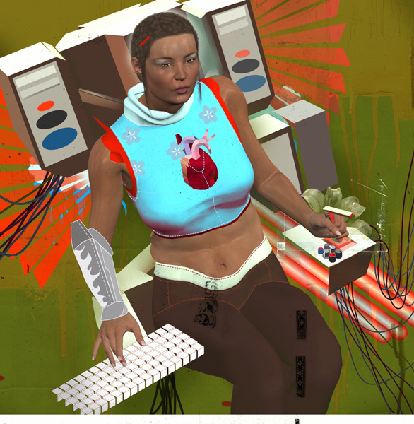 Ultimate Gaming Rig Illustration by Justin Wood for Computer Gaming World. December 2003. Woman with heart on her shirt sitting in an enormous video gaming rig.