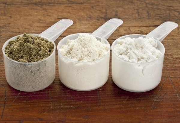 protein powders in scoops