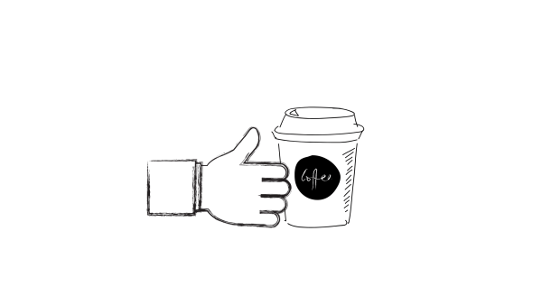 sketch of hand reaching for coffee