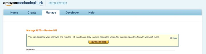 mturk download CSV screenshot