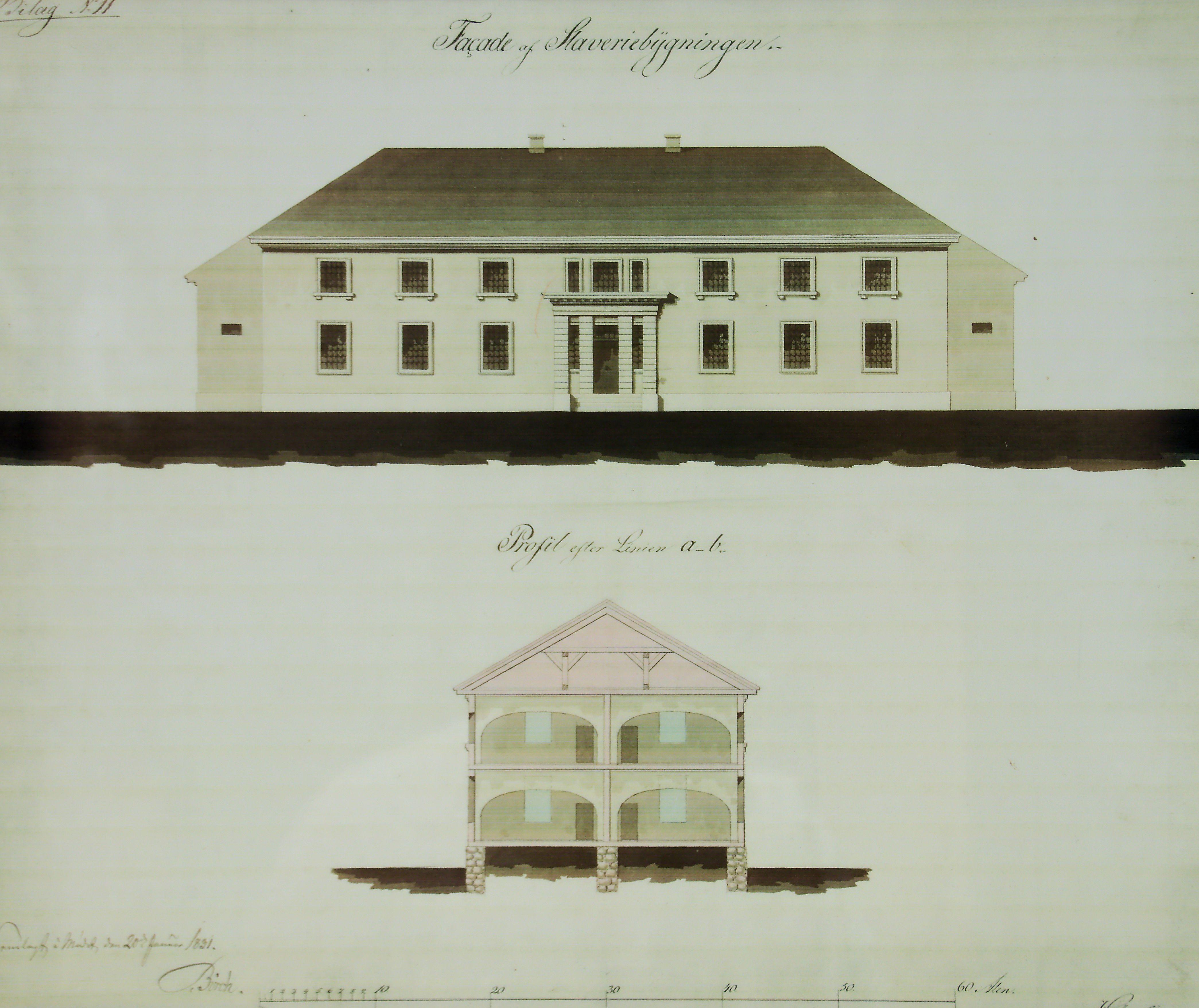 Tegning av Slaveriet som viser fasade og side