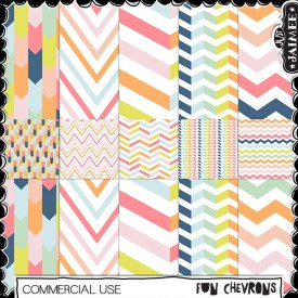 Digital Scrapbooking Commercial Use - Fun Chevron Patterns