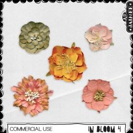 Digital Scrapbooking Commercial Use - In Bloom 4 Flowers