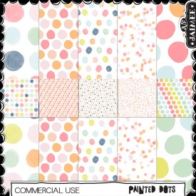 Digital Scrapbooking Commercial Use - Painted Dot Patterns
