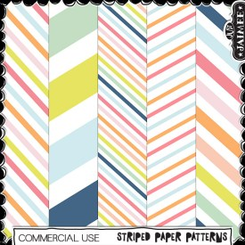Digital Scrapbooking Commercial Use - Striped Patts