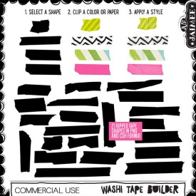 Digital Scrapbooking Commercial Use - Washi Tape Builder Shapes + Styles