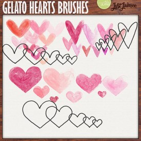 Digital Scrapbooking - Gelato Hearts Watercolor brushes + doodles