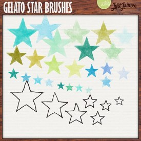 Digital Scrapbooking - Gelato Stars Watercolor brushes + doodles