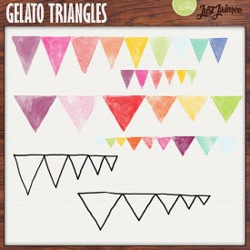 Digital Scrapbooking - Gelato Triangles Watercolor brushes + doodles
