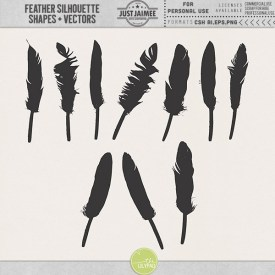 Digital Scrapbooking - Feather Silhouette Shapes