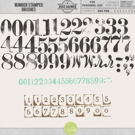 Digital Scrapbooking - Stamped Numbers Brushes