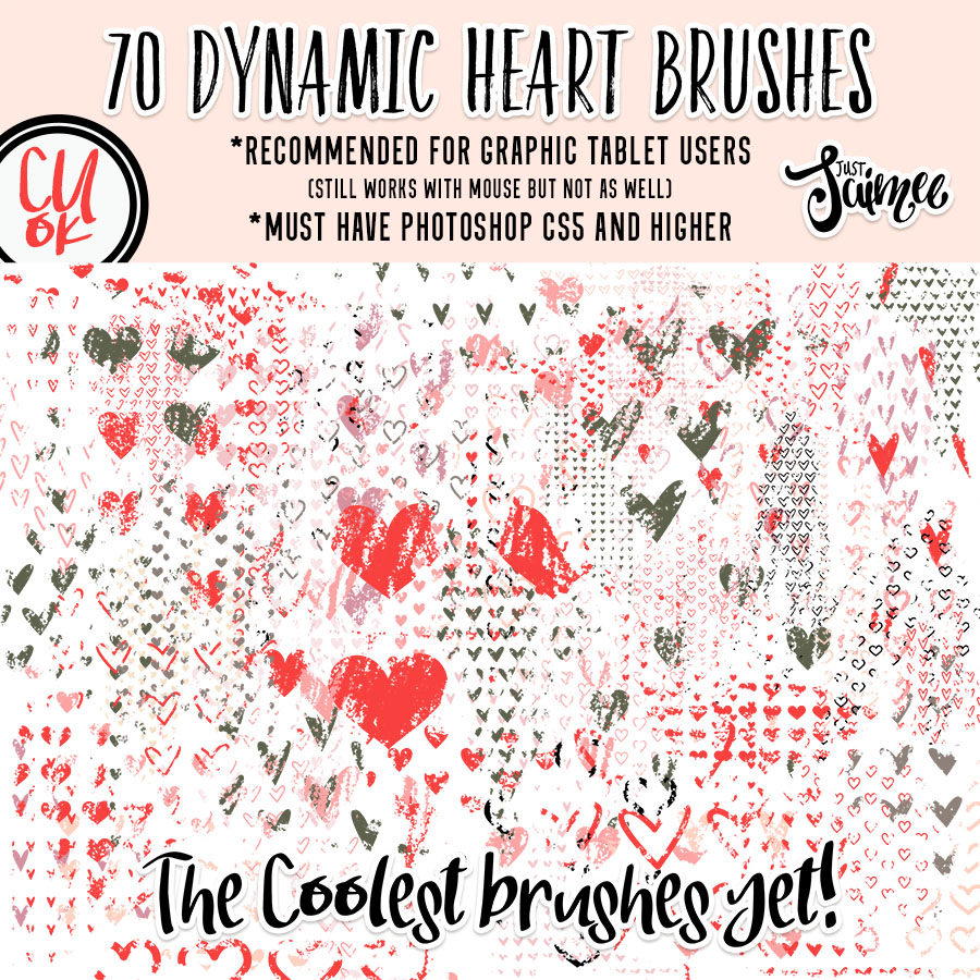 Brush Tool Presets - Stamps - Hearts - Just Jaimee