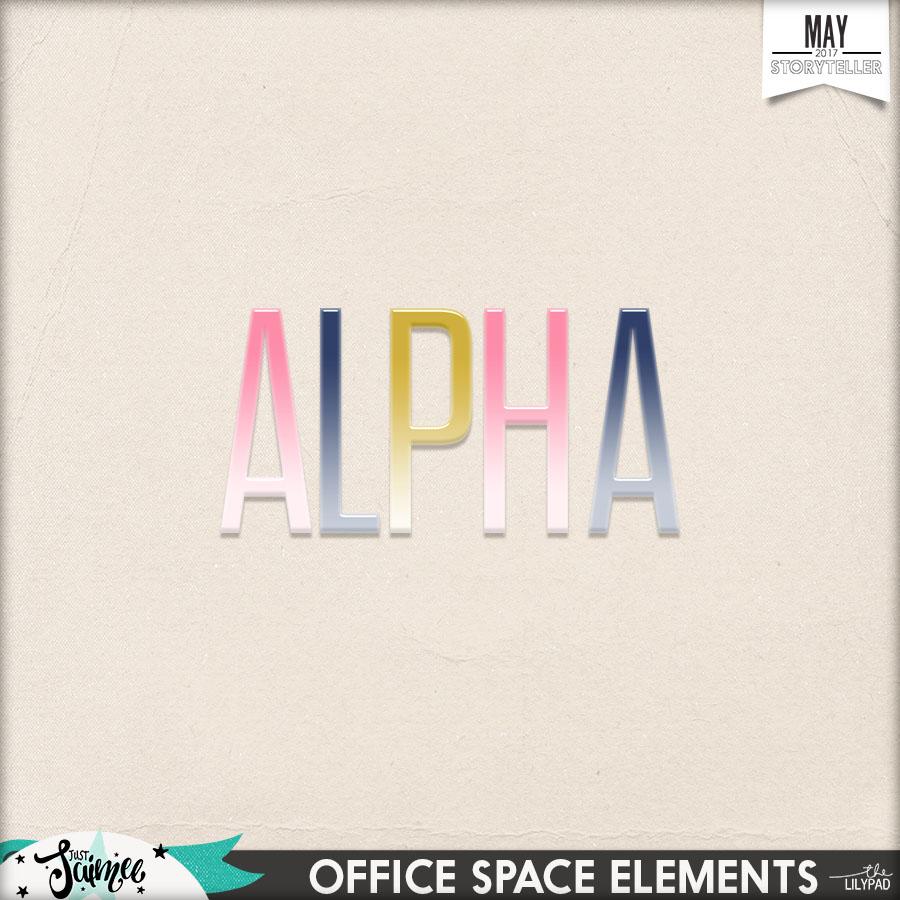 Office Space Digital Scrapbook Kit Alphas