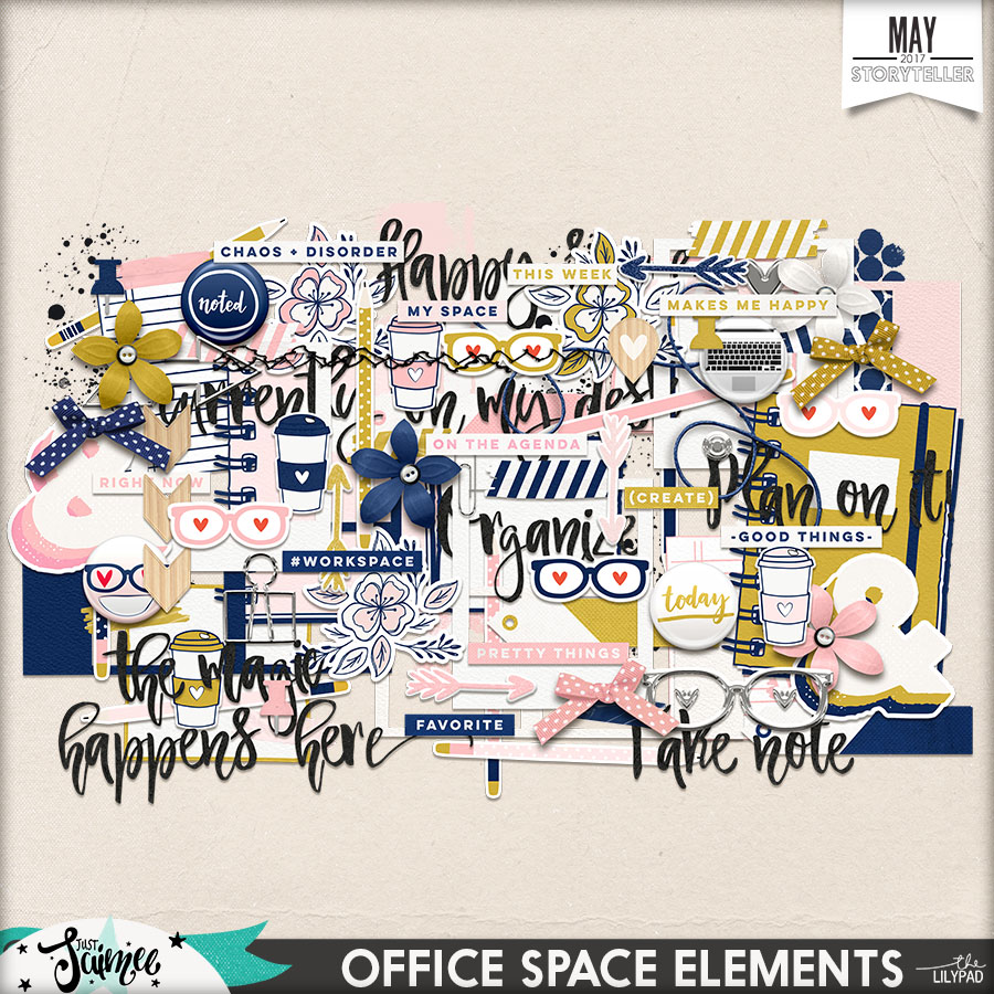 Office Space Digital Scrapbook Kit Elements