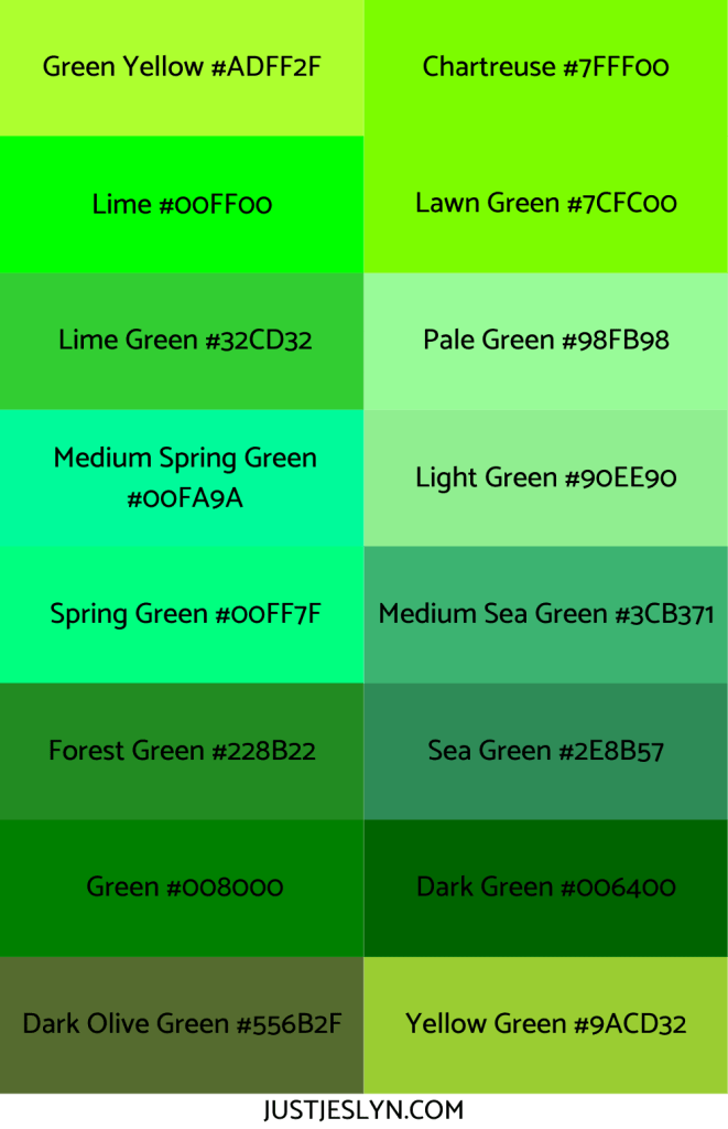 Names for Colors to Inspire Your Next Project (With Hex Codes!) | Names for Green | Just Jes Lyn