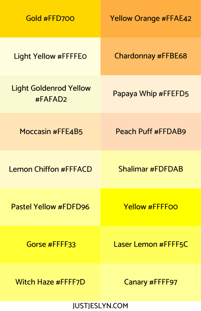 Names for Colors to Inspire Your Next Project (With Hex Codes!) | Names for Yellow | Just Jes Lyn