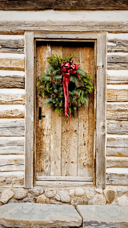 Christmas Wreath on Cabin Door