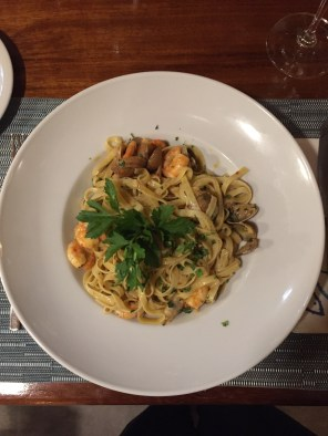 Fettuccini with shrimp & clams