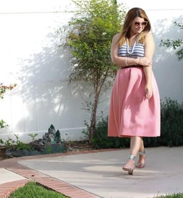 Skirt: Soprano Top: Vince Shoes: Brian Atwood Sunglasses: Miu Miu