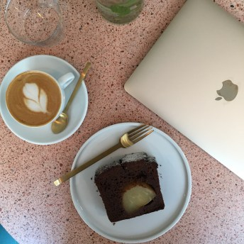 Almond Milk Latte & GF Chocolate Pear Cake