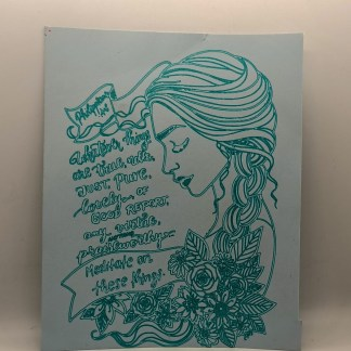 artwork with peaceful girl image and bible verse