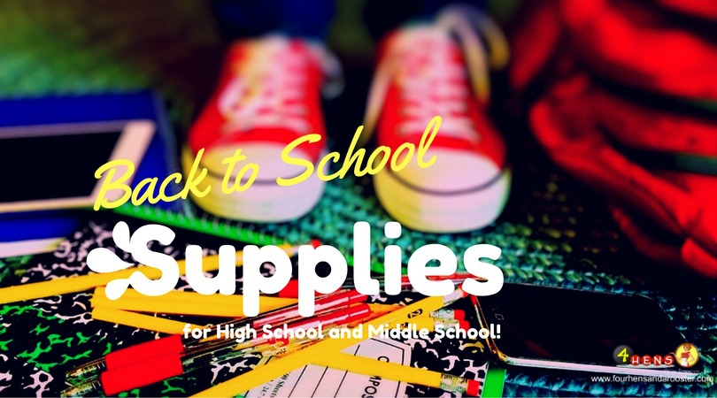 Back to school shopping lists for high school and middle school.
