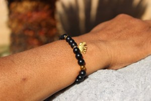 Gold Elephant Matte Black Onyx And Gold Stone Chip Beaded Bracelet