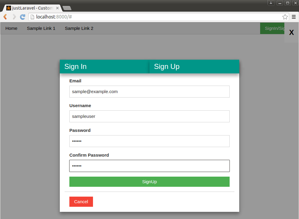 Custom Authentication (SignIn / SignUp) in Laravel - Just